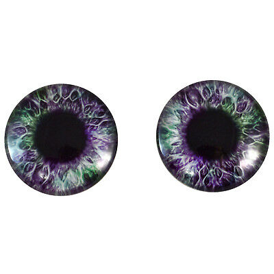 Pair of 40mm Purple and Green Glass Eyes Cabs Set - Sculptures, Jewelry Supply