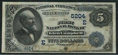 """Fr555 Ch #5204 $5 1882 Date Back (2) Known Vf+ """"glen Campbell, Pa"""" Wlm5024"""