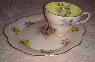Vintage Eb Foley England  Floral Spray Tennis Set- Cup and Sideplate