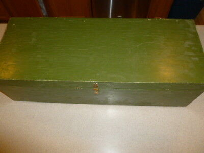 "Vintage US Military Wood Foot Locker Trunk FootLocker Green 8x10x27"" Army"
