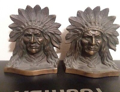 "Beautiful Vintage Solid Bronze Copper Patina Chief Indian Head 4.75"" Bookends"