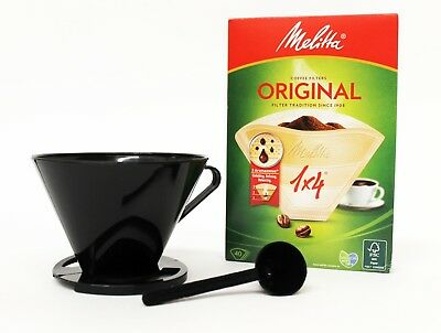 Melitta Compatible 1x4 Coffee Cone with Genuine 1x4 Filters PK40