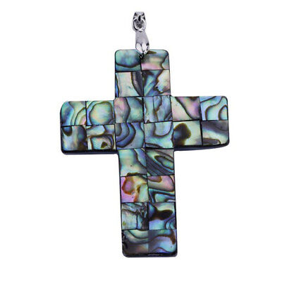 Fashion Natural Latin Cross Abalone Mother Of Pearl Mop Shell Bead Pendant