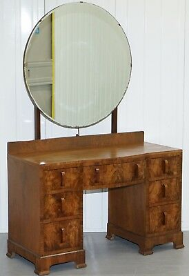 Antique Solid Walnut Dressing Table With Very Large Round Mirror Original Glass