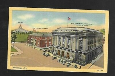 Vintage Postcard Linen Post Office Court House Customs Providence RI Old Cars