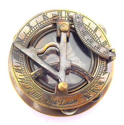 """Nautical Brass Solid Antique Sundial Compass 3"""" Best Quality Gift*"""