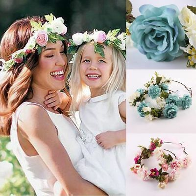 AU Stock Women BOHO Flower Girls Wedding Flower Hair Headband Crown Prop Garland