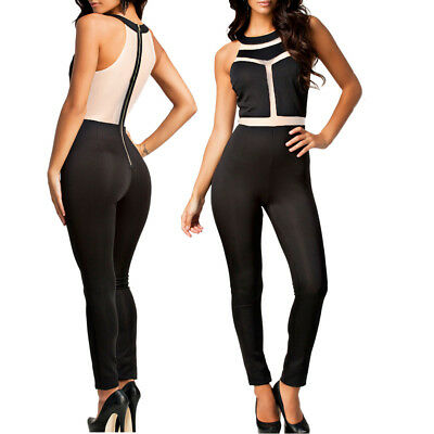 TUTA PIZZO DONNA elegante jumpsuit party nera overall party rompers ... 0940a10ac97
