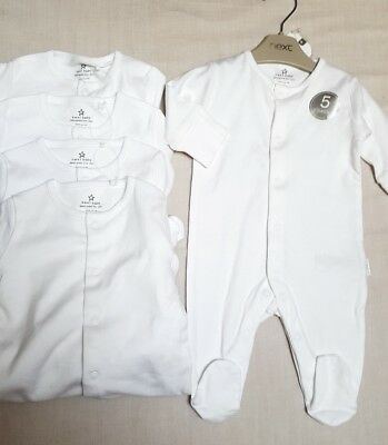 NEW ⭐BNWT NEXT Baby Girl/Boy 0-1 0-3 Cotton White Sleepsuit/Babygrow 5 Pack