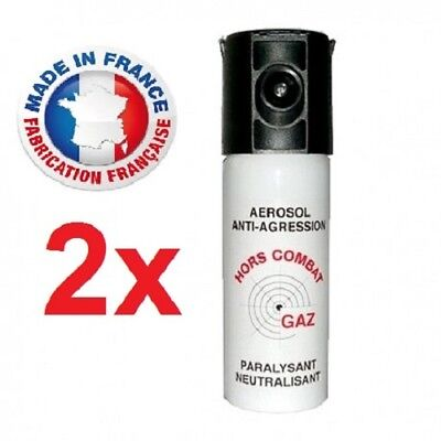 Bombe Lacrymogene pack 2 x Spray de défense 50 ml Gaz CS