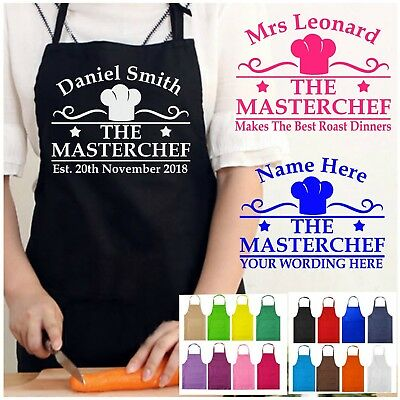 PERSONALISED with NAME KITCHEN MASTER CHEF APRON FUNNY COOK NOVELTY MENS LADIES