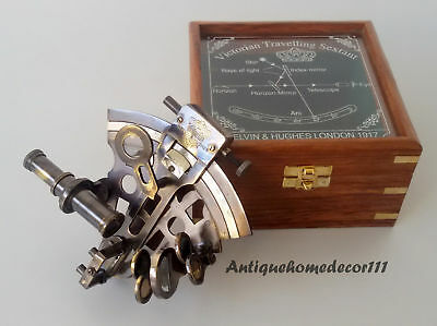 Antique Brass Nautical Collectible Working German Marine Sextant w/ Wooden Box