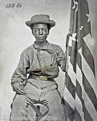 8 by 10 Repro Civil War Photo African American Union Soldier with US Flag