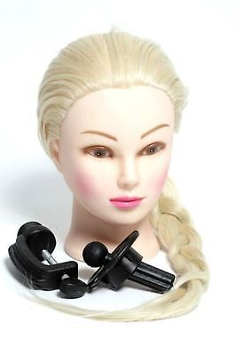 """Blonde 21"""" Long Hair Hairdressing Training Head Dummy with FREE CLAMP"""