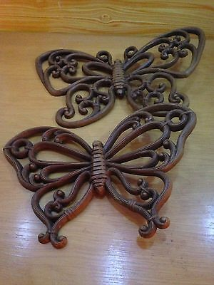 Pair Of Homco Butterfly Decorative Wall Accent Plaques