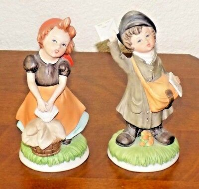 2 Homco Figurines Mail Boy & Laundry Girl  1435AA