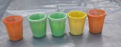 Vintage  Akro Agate Glass  Child's Cups Tumblers Orange Green Yellow