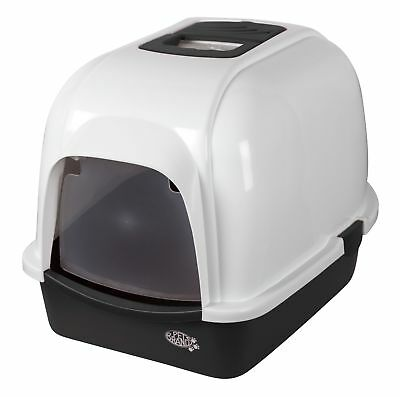 Pet Brands Oval Cat Litter Tray with Hood and Filter Black