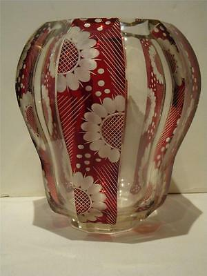 Rare Heavy 19Thc  French Glass Bohemian Moser Ruby Red Stenciled Floral Vase!!!!