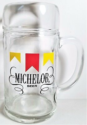 "Michelob Beer 1 Liter 1980's Classic Label 8"" Tall Clear Heavy Glass Beer Mug"