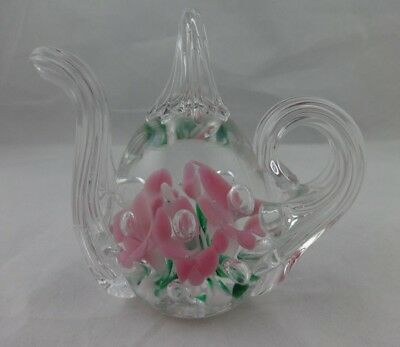 Vintage 1990 Gibson Teapot Paperweight Pink Trumpet Flowers Ring Holder