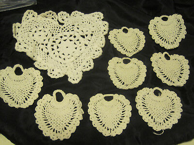 VALENTINES DAY Lot of 9 SMALL WHITE CROCHET HEART ORNAMENT& DOILY