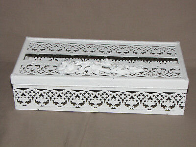 Vintage Shabby Cottage Chic Metal Painted Tissue Box Holder Antique