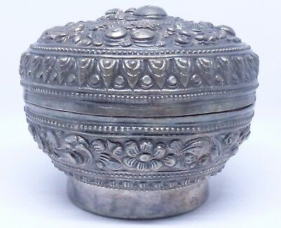 Antique Vintage Old 72.6 g Silver Carved Box Authentic Genuine