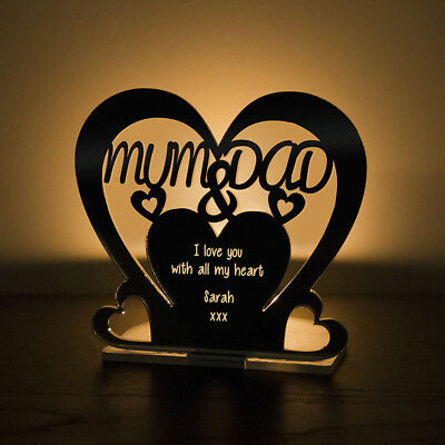 Personalised Tea Light Heart Candle Holder MUM and DAD Anniversary Keepsake Gift