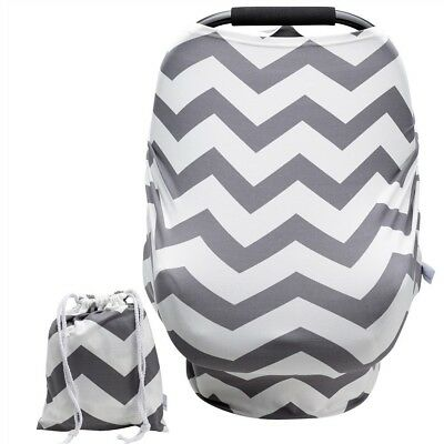 Baby Car Seat Cover w/Pouch Versatile Stretchy Grey Stripes Soft Perfect Gift