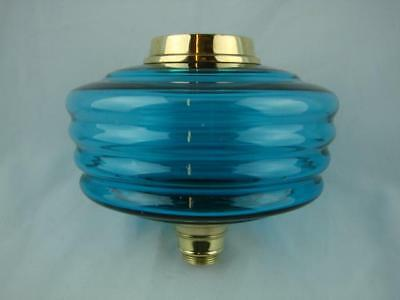 Superb Antique Oil Lamp Font Deep Turquoise Ribbed Design Glass + Brass Fittings