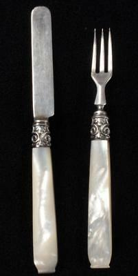 Antique Child's Sterling Silver & Pearl Knife & Fork, Birmingham, 1853 Victorian
