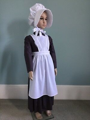 Girls VICTORIAN Apron + Bonnet White MAID Poor Servant School EDWARDIAN Child