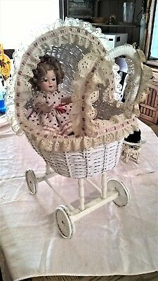 Porcelain Shirley Temple Doll With Wicker Stroller