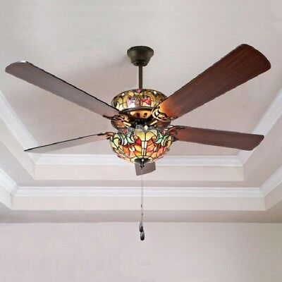 Light Fixtures Ceiling Fan Stained Glass Tiffany Style Self Balancing And Remote