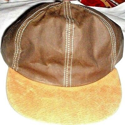 Lot Of 4   New Men's Six Panel Wax  Ball Cap With Golden Leather Bill