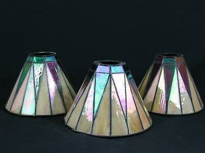 3 Quoizel Collectible Tiffany Style Stained Glass Art Deco Mission Lamp Shades