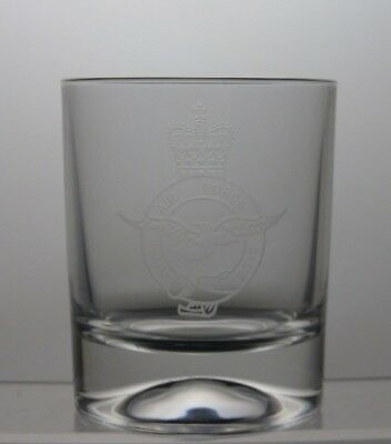 Beautiful Design Cut Glass Lead Crystal Tumbler With Etched Air Force Royal Club