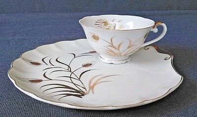 Vintage Lefton China Snack Plate and Tea Cup Hand Painted Wheat Pattern #2768