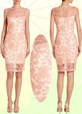 $368 Tadashi Shoji Embroidered Peony Lace Illusion Coral Blush Cocktail Dress