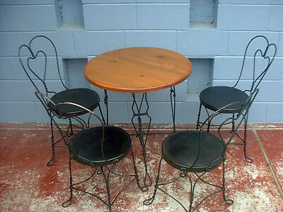 Antique ice cream parlor twisted heart  table and 4 chairs