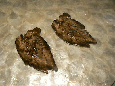 Two Vtg Metal Leaves French Country Soap Holders Jewelry Dish Brass Metal Heavy