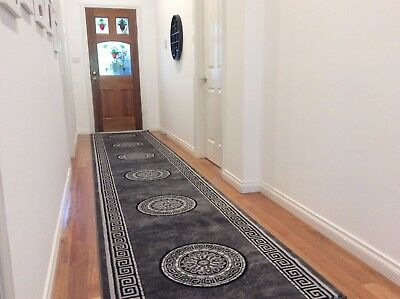 Hallway Runner Hall Runner Rug Modern Grey Black 4 Metres Long x 1M Wide 45842