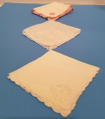Vintage  Floral and Lace Embroidered Handkerchiefs Hankies Lot of 3