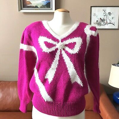 Vintage Jaclyn Smith Womens L Bow Faux Pearls Beaded Fuschia Pullover Sweater
