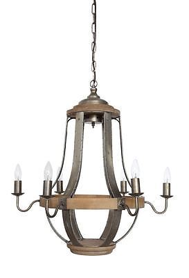 Rustic Wood/Metal Chandelier, 6 Lights,27''D X 27''H