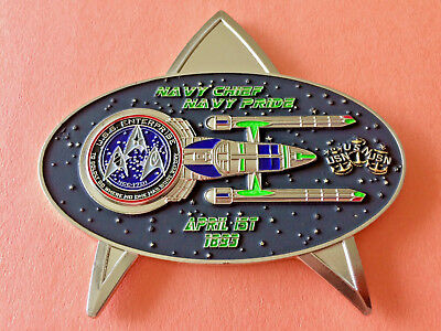 US Navy Chief CPO Shiny Gold USS Enterprise ST W/Beyond Black Box Challenge Coin