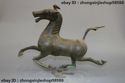 China old Pure Bronze Horse Ride Chebi Dynasty Palace Zodiac deco Statue