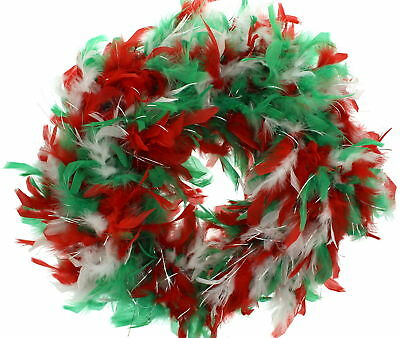 Zac's Alter Ego® Red, White & Green Christmas Themed Feather Boa with Tinsel