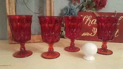4 NORITAKE PERSPECTIVE Ruby red Water Wine Ice Tea goblets